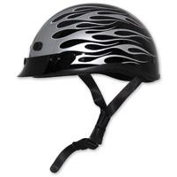 Zox Nano Custom Backfire Gloss Black and Silver Half Helmet