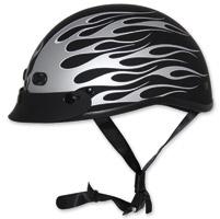 Zox Nano Custom Backfire Matte Black and Silver Half Helmet