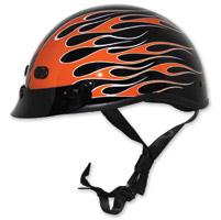 Zox Nano Custom Backfire Gloss Black and Orange Half Helmet
