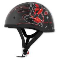 Skid Lid Original Hell on Wheels Black and Red Half Helmet