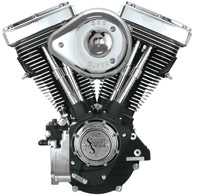 S&S Cycle V80 V Series Wrinkle Black Engine with Super 'E' Carb