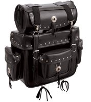 First Manufacturing Co. Studded Sissy Bar Bag with Roll Bag