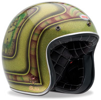 Bell Custom 500 Skratch Lace Green Open Face Helmet