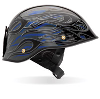 Bell Drifter DLX Flames Black and Blue Half Helmet