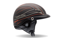 Bell Pit Boss Pin Stripe Black and Red Half Helmet