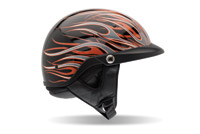 Bell Pit Boss Flames Black and Orange Half Helmet