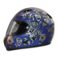 HCI-75 Screaming Skulls Blue Full Face Helmet