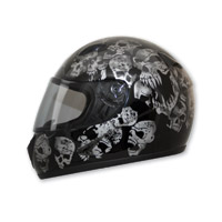 HCI-75 Screaming Skulls Black Full Face Helmet