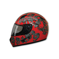 HCI-75 Screaming Skulls Red Full Face Helmet