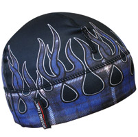 Missing Link Blue Flaming Flannel Skull Cap