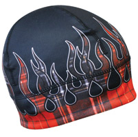 Missing Link Red Flaming Flannel Skull Cap
