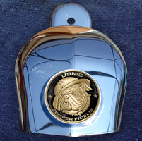 Motordog69 Horn Cover Coin Mount with Marine Bulldog Coin