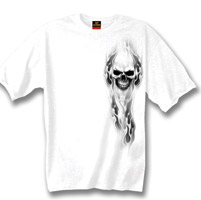 Hot Leathers White Ghost Skull Double Sided T-shirt
