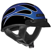 VEGA XTS Flame Bright Blue and Black Half Helmet