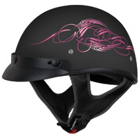 VEGA XTS Scroll Pink and Black Half Helmet