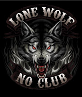 Hot Leathers Black Lone Wolf Biker T-shirt