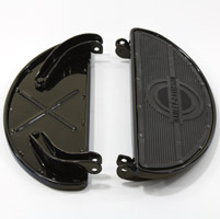 V-Twin Manufacturing Black Oval Shape Floorboards with Rubber Inserts