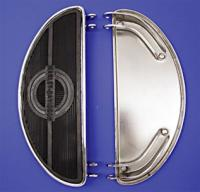 V-Twin Manufacturing Chrome Oval Shape Floorboards with Rubber Inserts