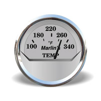 Marlin's Silver Head/Oil Temp Gauge for FLHT/C/U, FLHX, FLTR
