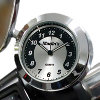 Marlin's CHAMP Series Black and Silver Horseshoe Face Clock