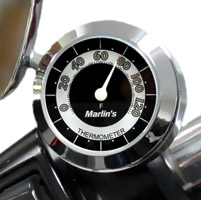 Marlin's CHAMP Series Retro Black and White Analog Thermometer