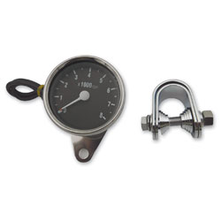 J&P Cycles® Black Face Electric Tachometer