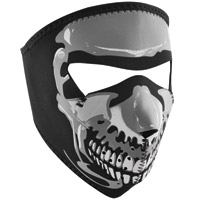 ZAN headgear Glow in the Dark Chrome Skull Neoprene Face Mask