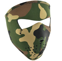 ZAN headgear Woodland Camo Neoprene Face Mask