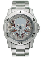 Ram Instrument Chrome Skull with Flames Biker Watch