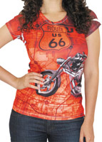 BikaChik Women's Route 66 Orange T-Shirt