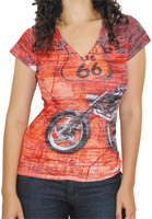 BikaChik Women's Route 66 V-Neck Orange T-Shirt