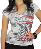 BikaChik Women's Wings and Heart White V-Neck T-shirt