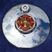 Motordog69 Medallion Fuel Door Cover Mount with Fire Rescue Coin