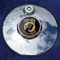 Motordog69 Medallion Fuel Door Cover Mount with POW-MIA Coin