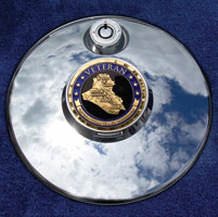 Motordog69 Medallion Fuel Door Cover Mount with Iraqi Freedom Vet Coin