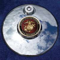 Motordog69 Medallion Fuel Door Cover Mount with Retired Marine Coin