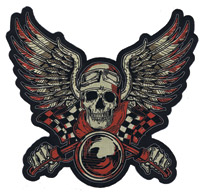 Lethal Threat Vintage Biker Red 10″ x 11″ Patch
