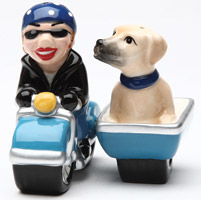 Pacific Trading Dog Gone Side Car Salt and Pepper Shaker Set