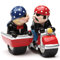 Pacific Trading Motocycle Side Car Salt and Pepper Shaker Set