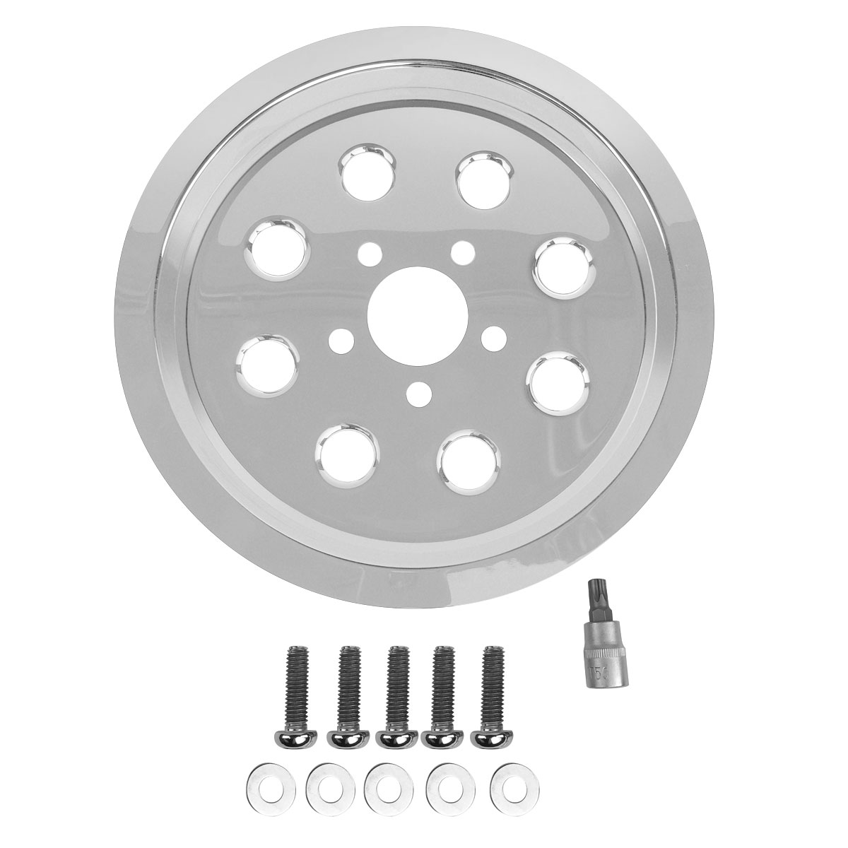 J&P Cycles® Chrome Belt Drive Pulley Insert Kit