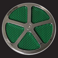 Wimmer Custom Cycle Air Star Cover Chrome with Black Screen 5 Window Green Insert
