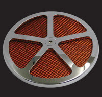Wimmer Custom Cycle Air Star Cover Chrome with Black Screen 5 Window Orange Insert