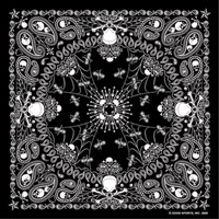 Hot Leathers Bandanas Black Paisley and Skulls
