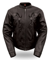 First Manufacturing Co. Women's Leather Reflective Star Jacket