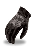 First Manufacturing Co. Reflective Skull Men's Leather Driving Gloves