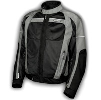 Olympia Moto Sports Men′s Pewter and Black Switchback Mesh Tech Jacket