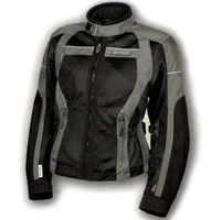 Olympia Moto Sports Ladies Pewter and Black Switchback Mesh Tech Jacket