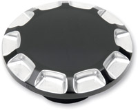 Carl Brouhard Designs Gloss Black/Re-Machined Non-Vented Straight-Cut Gas Cap
