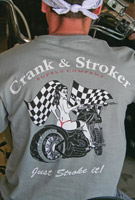 Crank & Stroker Supply Men's Biker Chick Gray T-Shirt