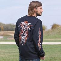 J&P Cycles® Old School Black Long-Sleeve Pinstripe T-Shirt